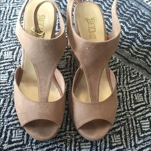 Tan faux suede platform sandals